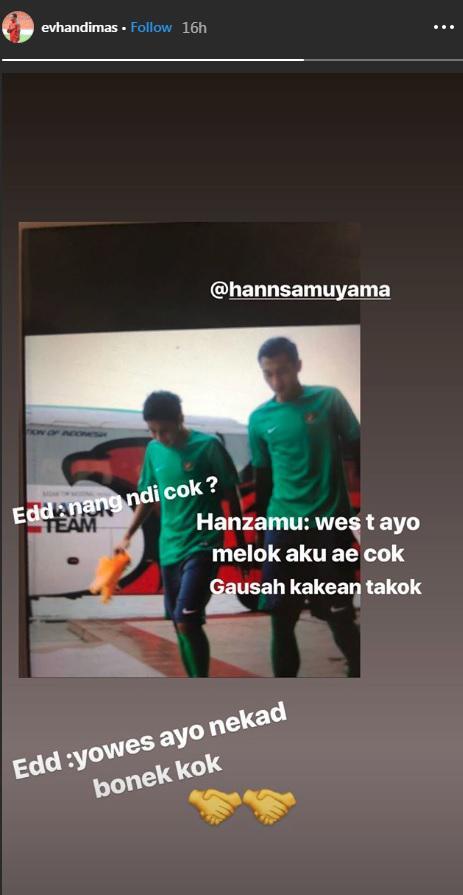 Evan Dimas mengunggah Instagram story yang menjelaskan ia bersama Hansamu Yama akan pergi bersama-sama. Copyright: Instagram/@evhandimas