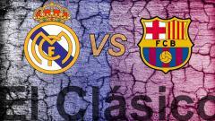 Indosport - Logo Real Madrid vs Barcelona.
