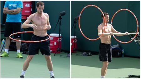 And Murray sedang berlatih menggunakan hula hoop. - INDOSPORT