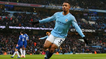 Selebrasi Gabriel Jesus setelah mejebol gawang Everton. - INDOSPORT
