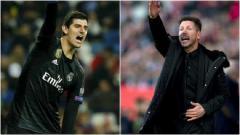 Indosport - Thibaut Courtois dan Diego Simeone saling serang