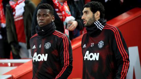Paul Pogba dan Marouane Fellaini sebelum laga Liverpool vs Manchester United - INDOSPORT
