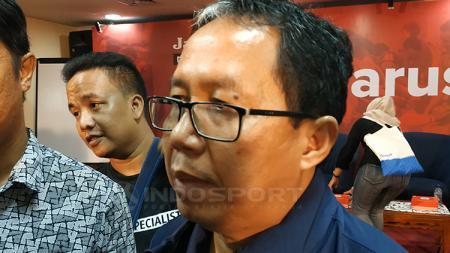 Wakil ketua umum PSSI Joko Driyono saat menghadiri diskusi PSSI Harus Baik. - INDOSPORT