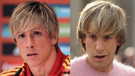 Mantan pemain Liverpool dan Chelsea, Fernando Torres dan Sacha Baron saat memerankan film Bruno.