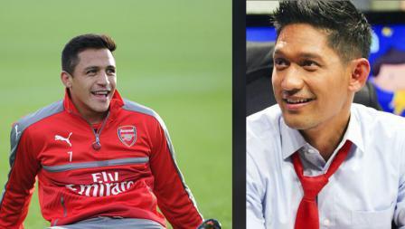 Mantan striker Arsenal,Alexis Sanchez dan Ibnu Jamil, aktor Indonesia.