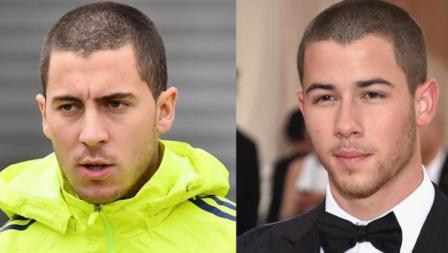 Pemain megabintang Chelsea, Eden Hazard dan Nick Jonas, aktor asal Amerika Serikat.