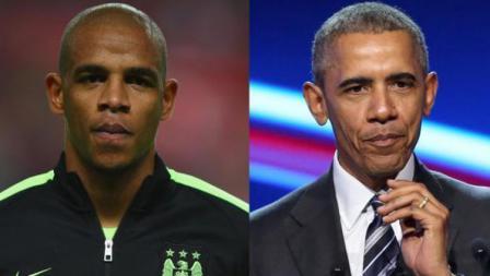 Gelandang Manchester City, Fernandinho dan Barack Obama, mantan Presiden Amerika Serikat.