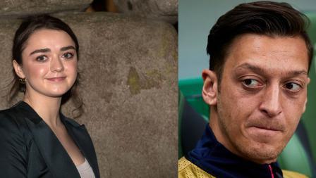 Playmaker Arsenal, Mesut Ozil (kanan) dan Maisie Williams, aktris asal Inggris.