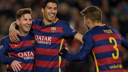 Lionel Messi, Luis Suarez dan Gerard Pique rayakan gol kemenangan - INDOSPORT