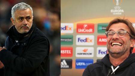 Mantan pelatih Manchester United, Jose Mourinho dan Jurgen Klopp, pelatih Liverpool. - INDOSPORT