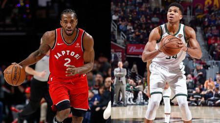 Bintang basket Toronto Raptors, Kawhi Leonard dan Giannis Antetokounmpo, bintang basket Milwaukee Bucks. - INDOSPORT