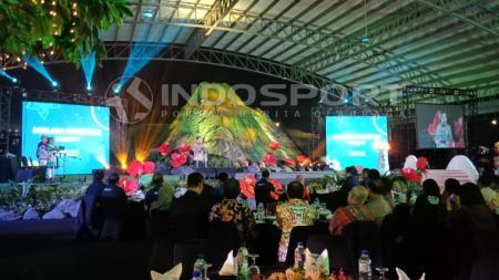 Jusuf Kalla di acara Malam Apresiasi Sponsor dan Karyawan Asian Games 2018 di Jakarta International Equestrian Park, Pulomas, Jakarta, Selasa (18/12/18). - INDOSPORT