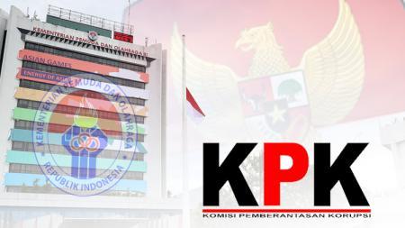 Ilustrasi gedung Kemenpora dan KPK - INDOSPORT