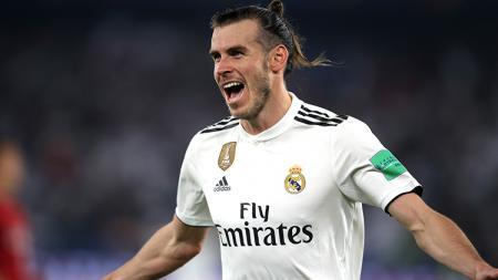 Gareth Bale berselebrasi usai mencetak gol ke gawang Kashima Antlers. - INDOSPORT