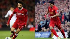 Indosport - Dua pemain Liverpool, Mohamed Salah dan Luis Suarez