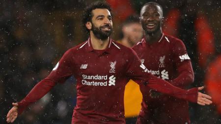 Selebrasi Mohamed Salah usai cetak gol ke gawang Wolves, Sabtu (22/12/18). - INDOSPORT