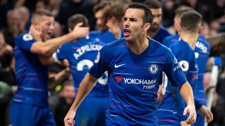 Selebrasi Pedro Rodriguez bersama rekan setimnya, Chelsea. - INDOSPORT