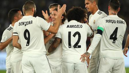 Para pemain Real Madrid merayakan gol. - INDOSPORT