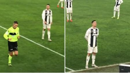 Cristiano Ronaldo mengikuti wasit meninjau tayangan VAR di laga Juventus vs AS Roma - INDOSPORT