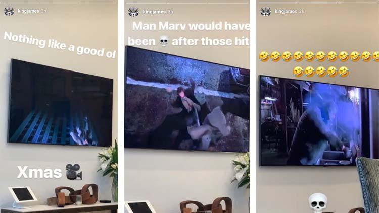 LeBron James menikmati tontotan Home Alone 2 di rumah saat merayakan Natal Copyright: Instagram/LeBron James