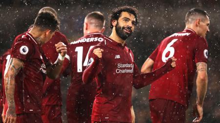 Liverpool saat merayakan kemenangan melawan Wolves - INDOSPORT