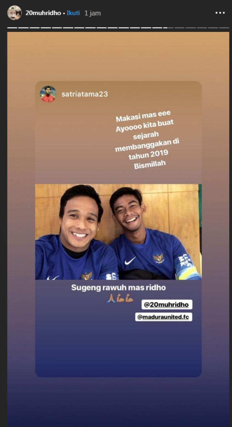 Muhammad Ridho siap bekerjasama dengan Satria Tama di Madura United. Copyright: Instagram.com/20muhridho