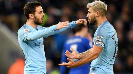 Raksasa sepak bola LaLiga Spanyol, Barcelona, dikabarkan tengah mengincar gelandang Manchester City yang bernama Bernardo Silva (kiri) di bursa transfer musim panas. - INDOSPORT
