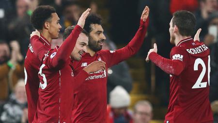 Mohamed Salah berselebrasi usai mencetak gol ke gawang Newcastle. - INDOSPORT