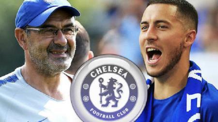 Maurizio Sarri dan Eden Hazard, 2 sosok penting di Chelsea. - INDOSPORT