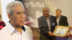 Indosport - Anggota Komisi Disiplin PSSI Dwi Irianto alias Mbah Putih (tengah) diciduk Satgas Anti Mafia Bola dari Hotel New Saphire, Yogyakarta, Jumat (28/12/2018).