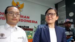 Indosport - Sekjen PSSI, Ratu Tisha saat memberikan komentar mengenai kelanjutan masalah pengaturan skor.