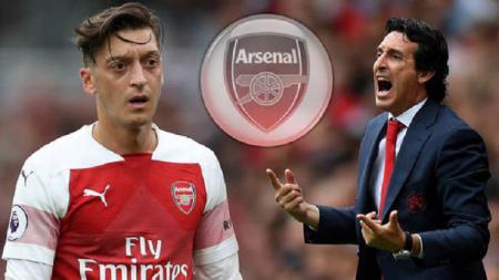 Unai Emery beberkan alasan tidak menurunkan Mesut Ozil di laga yang berakhir imbang antara Arsenal vs Manchester United. - INDOSPORT