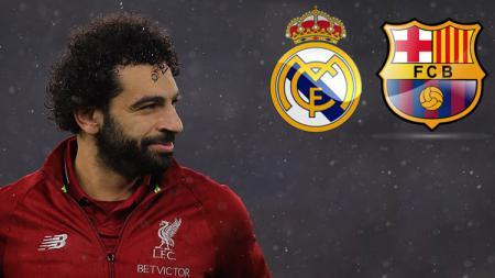 Pemain megabintang Liverpool, Mohamed Salah berpeluang bermain antara di Barcelona atau Real Madrid jelang bursa transfer lanjutan. - INDOSPORT