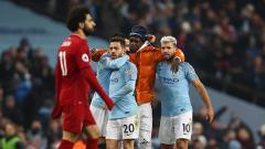 Indosport - Benjamin Mendy melakukan selebrasi bersama Sergio Aguero, Bernardo Silva dan Ilkay Gundogan