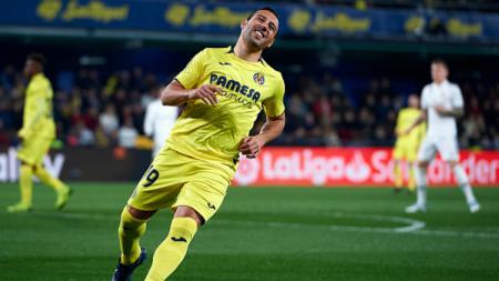 Santi Cazorla selebrasi usai cetak gol di laga Villarreal vs Real Madrid, Jumat (04/01/19). - INDOSPORT
