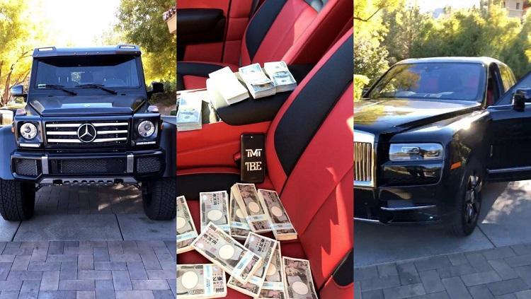 Floyd Mayweather, pamer uang dan mobil atas keberhasilannya mengalahkan petarung jepang Copyright: Instagram/FloydMayweather