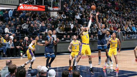 Suasana pertandingan NBA antara Minnesota Timberwolves vs LA Lakers. - INDOSPORT