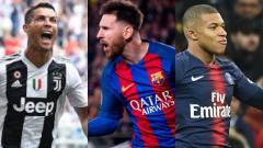 Indosport - Ronaldo, Messi, dan Mbappe.