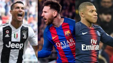 Ronaldo, Messi, dan Mbappe - INDOSPORT