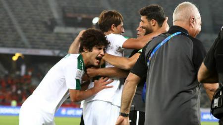 Pemain Irak melakukan selebrasi usai mencetak gol ke gawang Vietnam di ajang Piala Asia 2019 - INDOSPORT