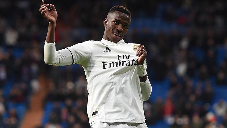 Vinicius Junior melakukan selebrasi usai cetak gol pada laga 16 besar Copa del Rey Real Madrid melawan Leganes di Santiago Bernabeu 09/01/19. Copyright: Getty Images