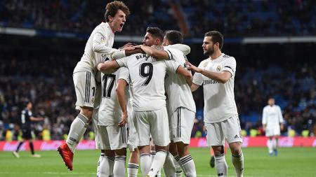 Aksi selebrasi pemain Real Madrid menang atas Leganes pada laga 16 besar Copa del Rey Real Madrid melawan Leganes di Santiago Bernabeu 09/01/19. - INDOSPORT