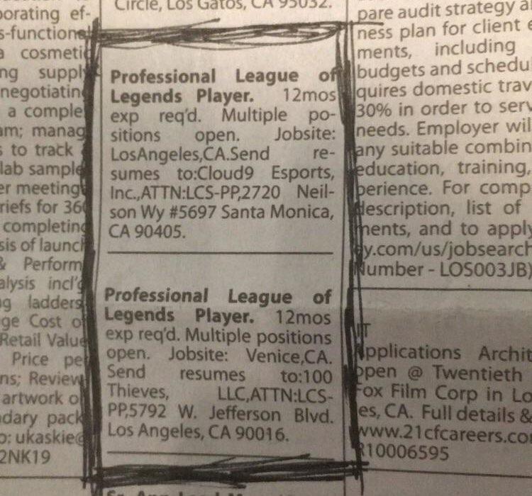 Lowongan gamers profesoinal LoL yang dimuat di surat kabar Amerika Serikat. Copyright: foxsportsasia.com