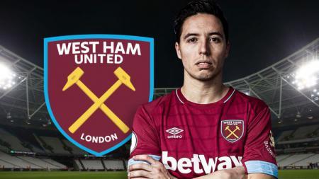 Pemain West Ham United, Samir Nasri. - INDOSPORT