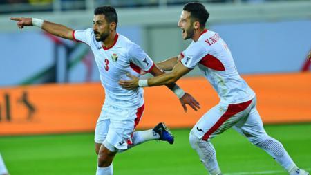 Timnas Yordania selebrasi usai mengalahkan Suriah di Piala Asia 2019. - INDOSPORT