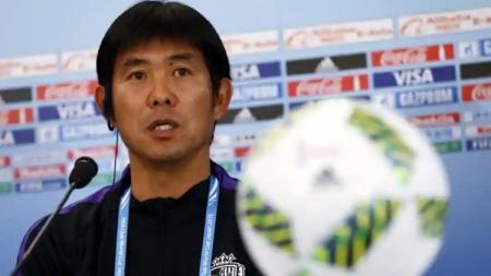 Hajime Moriyasu pelatih Timnas Jepang dalam jumpa pers - INDOSPORT