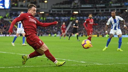 Jelang laga kontra Sheffield United, Liverpool harus rela kehilangan Xherdan Shaqiri yang dipastikan absen dalam laga kandang tersebut akibat cedera hamstring. - INDOSPORT