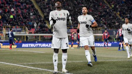 Moise Kean melakukan selebrasi usai mencetak gol bagi Juventus - INDOSPORT