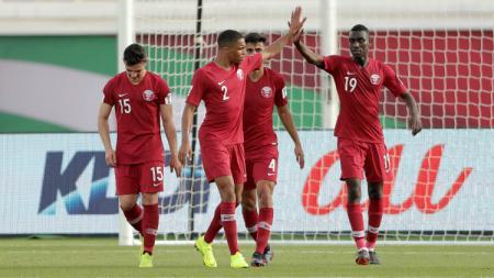 Pemain Qatar Merayakan Golnya di Piala Asia 2019 - INDOSPORT
