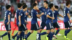 Pemain Jepang Merayakan Golnya di Ajang Piala Asia 2019